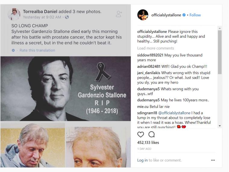 Sylvester Stallone paneigia gandus apie savo mirtį. Fake news