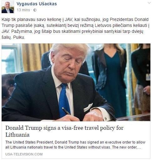 V. Ušackas dalinasi Fake news savo Facebook sienoje